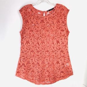 Maurice's Coral Lace Top, Keyhole Back